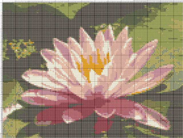 Схема вышивания крестом - Водяная лилия