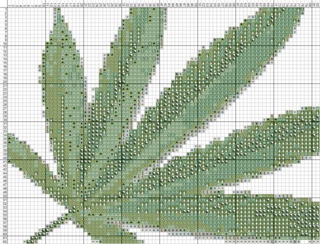 Схема вышивания крестом - Лист конопли