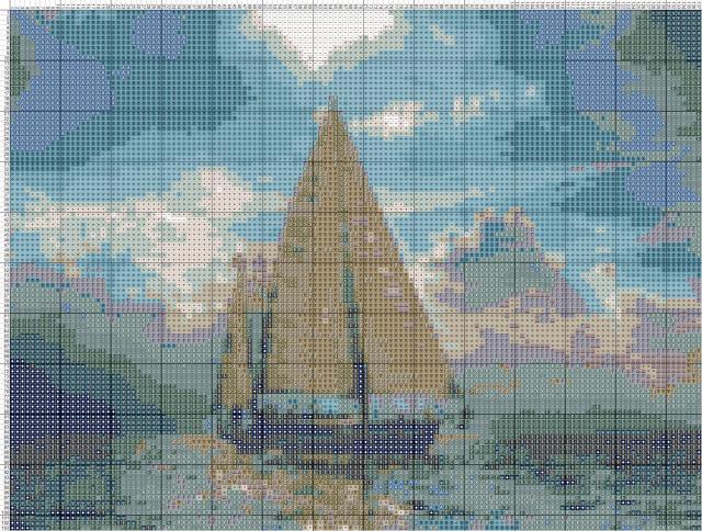 Схема вышивания крестом - Лодка