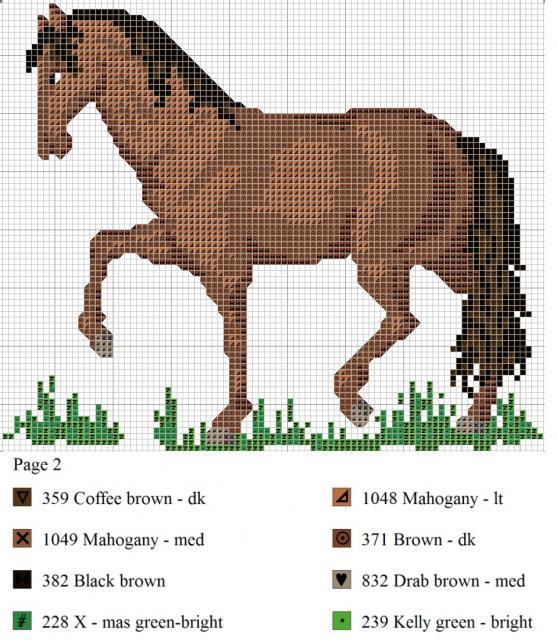 Схема вышивания крестом - Лошадка