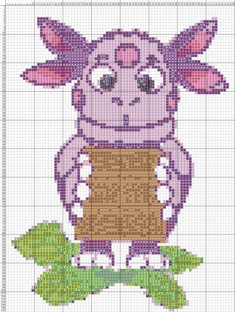 Схема вышивания крестом - Лунтик