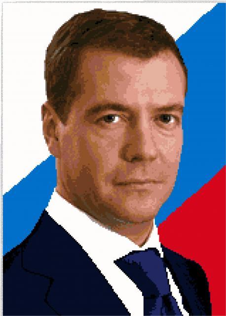 Схема вышивания крестом - президент Медведев