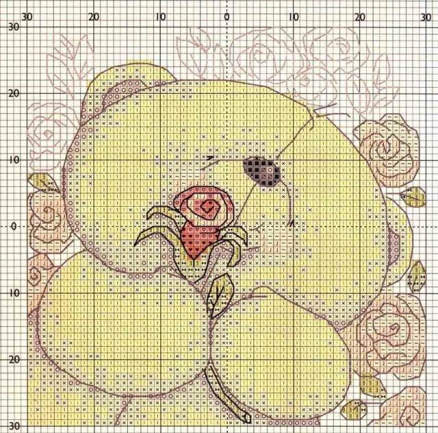 Схема вышивания крестом - Медвежонок