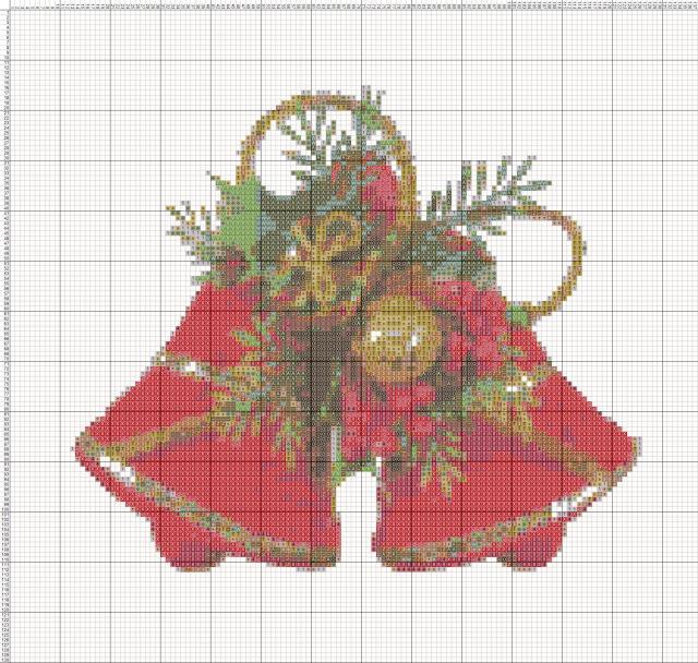 Схема вышивания крестом - Новогодние колокольчики