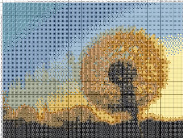 Схема вышивания крестом - Одуванчик