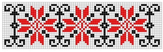 Схема вышивания крестом - Орнамент для полотенца