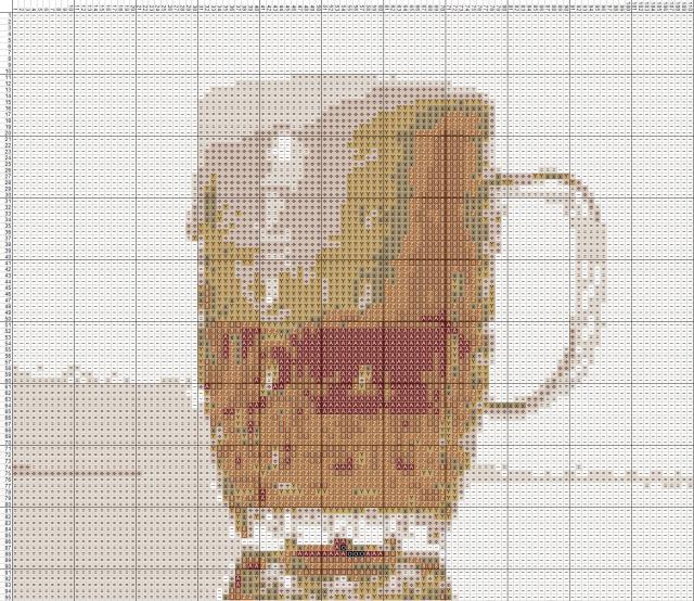 Схема вышивания крестом - Кружка пива