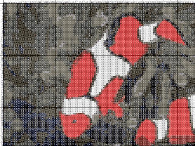 Схема вышивания крестом - Рыба-клоун