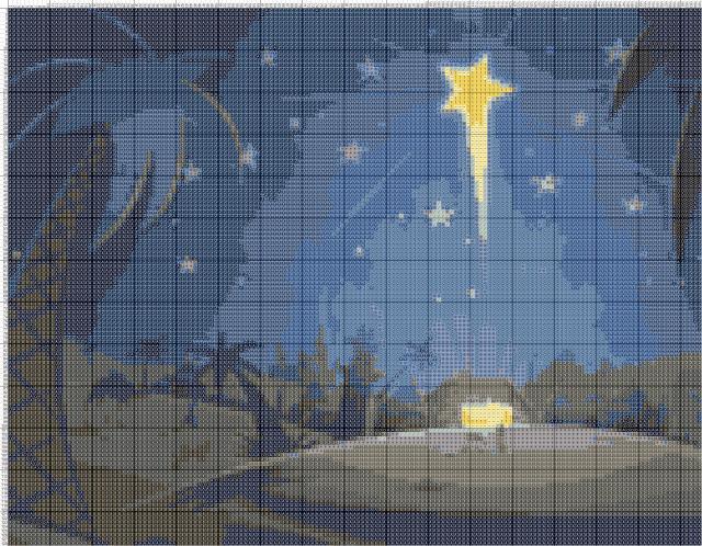 Схема вышивания крестом - Рождественская Звезда