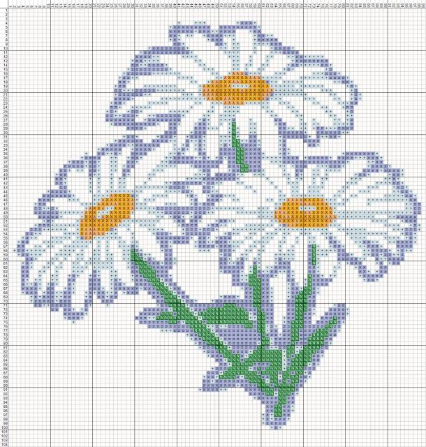 Схема вышивания крестом - Ромашки