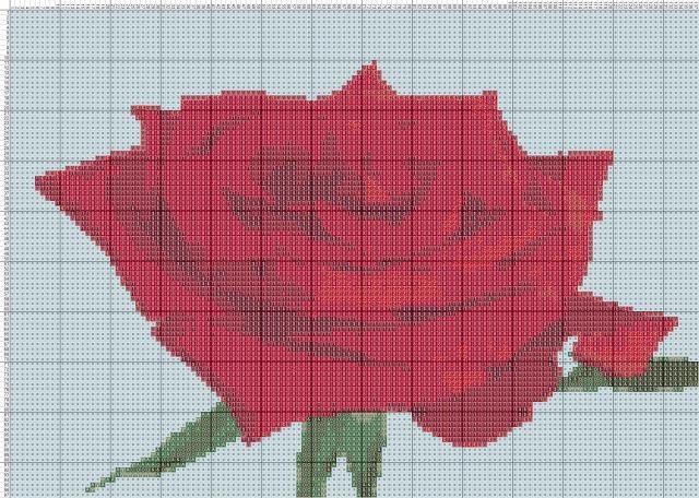 Схема вышивания крестом - Роза