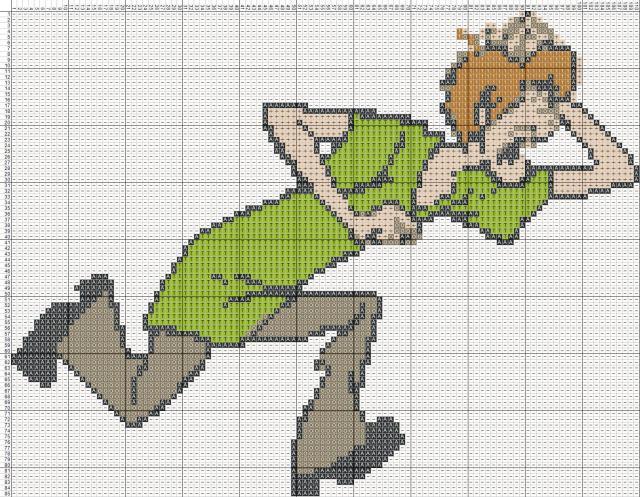 Схема вышивания крестом - Шэгги. Скуби-Ду