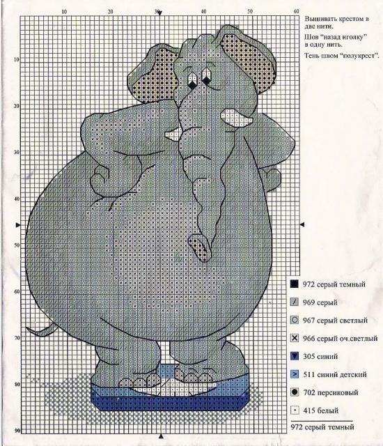 Схема вышивания крестом - Слон