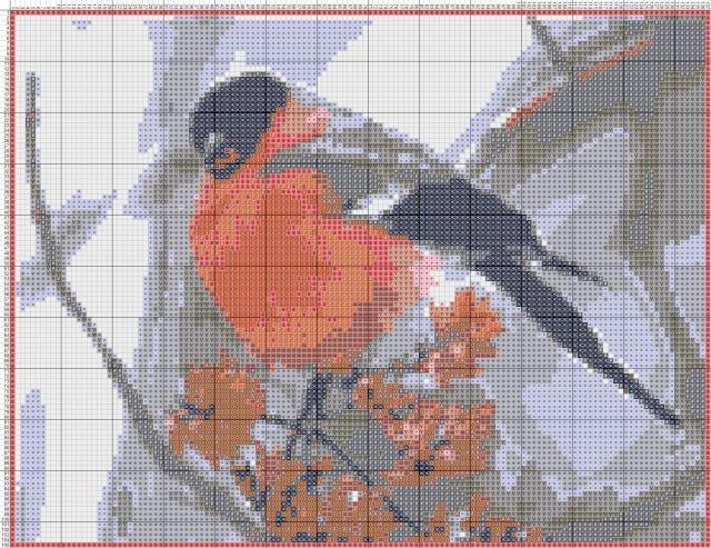 Схема вышивания крестом - Снегирь