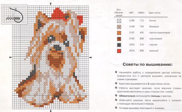 Схема вышивания крестом - Собачка