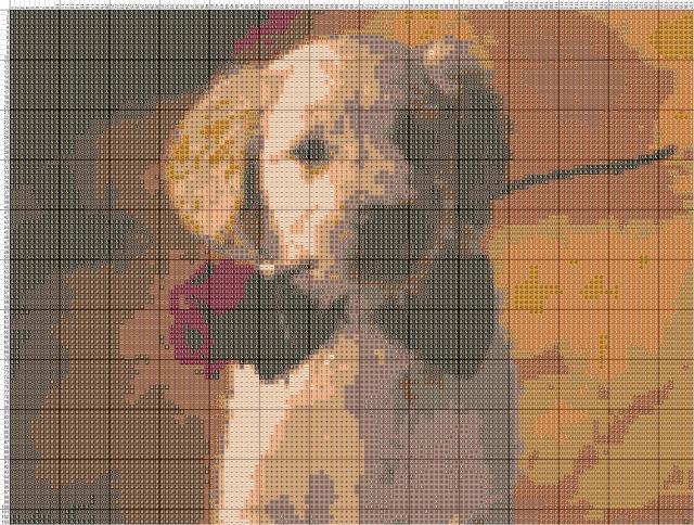 Схема вышивания крестом - Собака с розой
