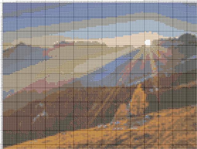 Схема вышивания крестом - Луч солнца