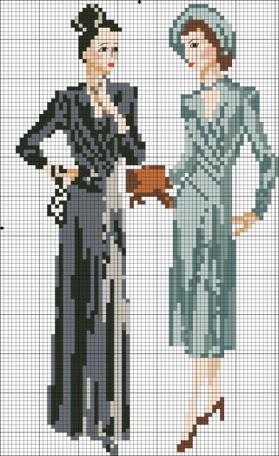 Схема вышивания крестом - Светские дамы