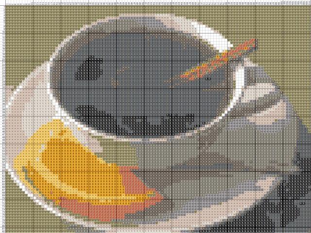 Схема вышивания крестом - Чай