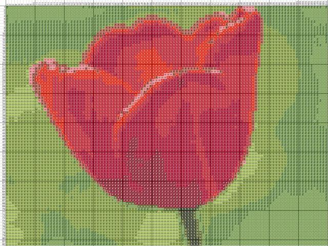 Схема вышивания крестом - Тюльпан