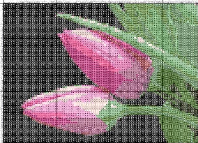 Схема вышивания крестом - Тюльпаны