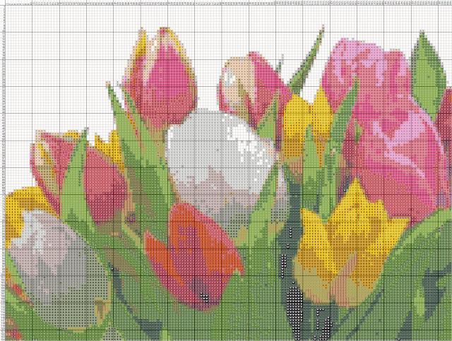 Схема вышивания крестом - Букет тюльпанов