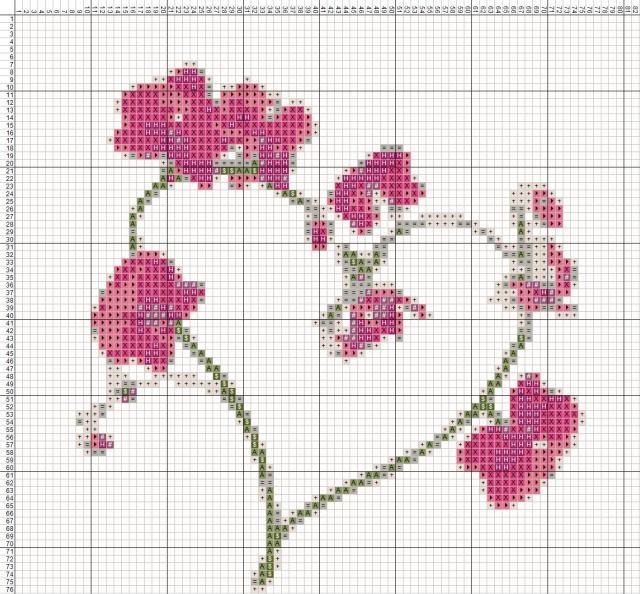 Схема вышивания крестом - Валентинка