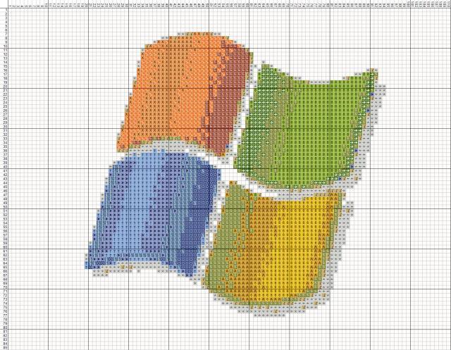 Схема вышивания крестом - Windows.