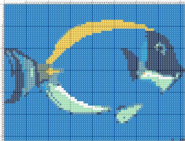 Схема вышивания крестом - Рыба - Хирург
