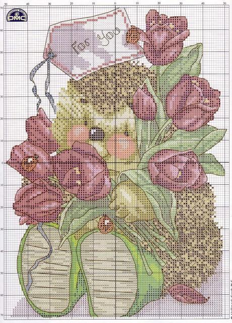 Схема вышивания крестом - Ежик с тюльпанами