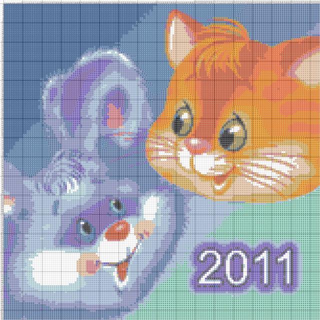 Схема вышивания крестом - Новогодние символы 2011